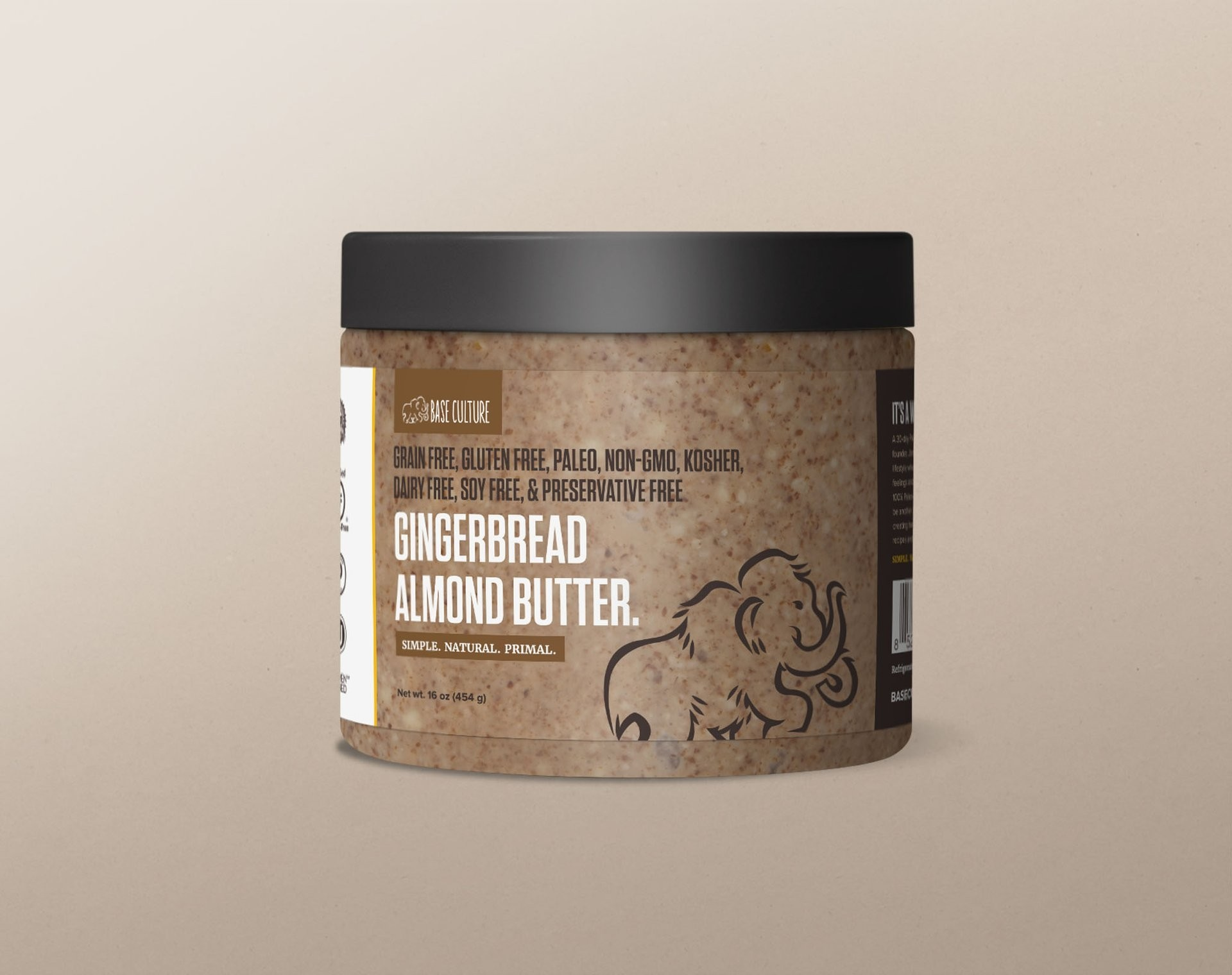 Base Culture 100% Paleo & Gluten Free Almond Butter, Gingerbread Almond, 16 Ounce