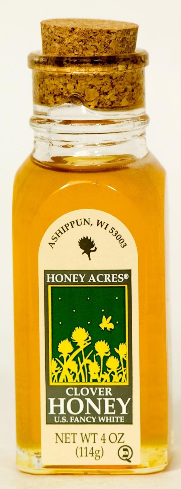 Honey Acres Artisan Honey, Pure Clover Honey, 4 Oz Muth Jar