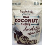 Absolutely Gluten Free Coconut Chews With Chocolate and Cacao Nibs, 5 ounce resealable bag (12 pack)