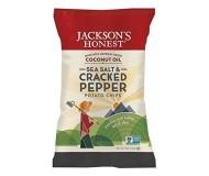 Jackson's Honest Organic Potato Chips Made with Coconut Oil, Sea Salt Cracked Pepper, 5 Oz (12 Pack)